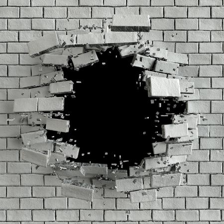 Rendering 3D, 3D illustrazione, esplosione, muro di mattoni incrinato, foro di proiettile, la distruzione, astratto Archivio Fotografico
