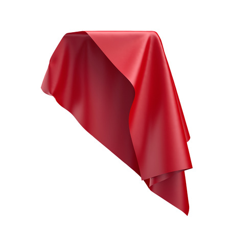 soaring: 3d render, digital illustration, abstract folded cloth, flying, falling, soaring fabric, unveil, red curtain, textile cover, isolated on white background