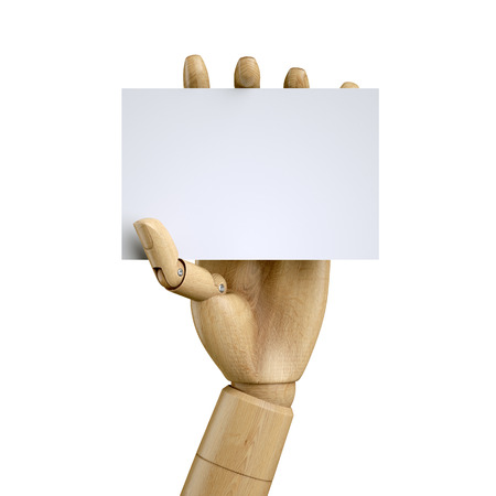 3d render, digital illustration, wooden dummy hand holding blank card, isolated on white background