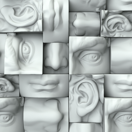 3 d レンダリング、デジタル イラスト、抽象的な白いブロック、目、鼻、唇、口、解剖学彫刻顔の詳細、デビッド彫刻パーツ 写真素材