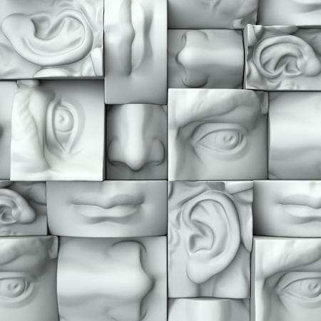 Rendering 3D, illustrazione digitale, blocchi astratti bianchi, gli occhi, il naso, le labbra, la bocca, anatomia scultoreo dettagli del viso, David parti scultura Archivio Fotografico - 60195096