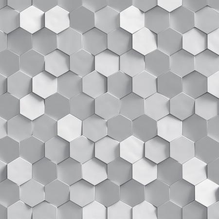 3d, Silber Wabenstruktur, weiß Cluster digitale Illustration, abstrakte geometrische Hintergrund machen