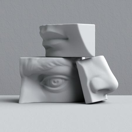 디지털 그림, 추상 설화 석고 블록, 눈, 코, 입술, 입, 해부학 조각 얼굴 세부 사항, 데이비드 조각 부품 3d 렌더링
