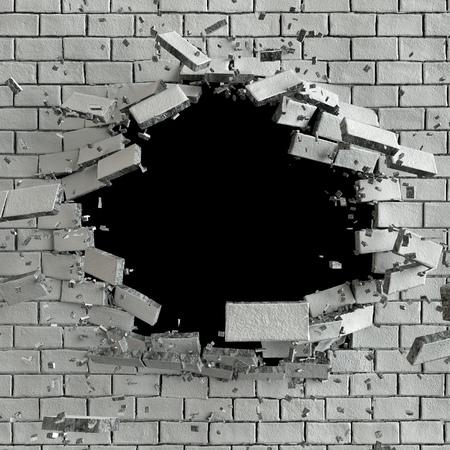 3D 그림, 폭발, 깨진 벽돌 벽, 총알 구멍, 파괴, 추상적 인 배경 3d 렌더링