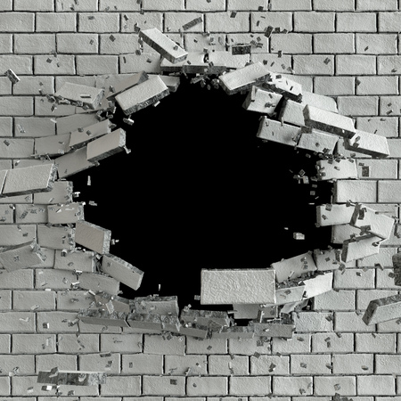 3d bullet: 3d render, 3d illustration, explosion, cracked brick wall, bullet hole, destruction, abstract background Stock Photo