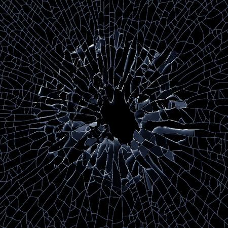 destruction: 3d render, illustration, explosion, broken glass, bullet hole, destruction, abstract cracked glass background Stock Photo