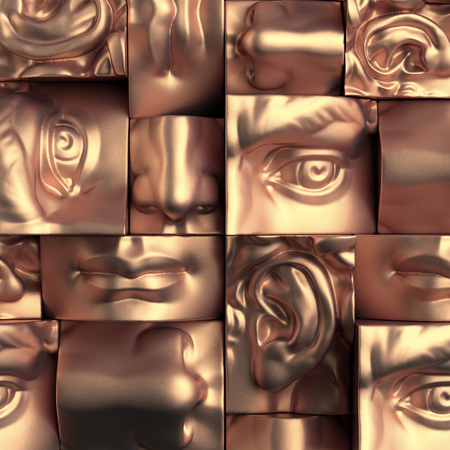 abstract academic: 3d render, digital illustration, abstract copper metallic blocks, eyes, ear, nose, lips, mouth, anatomy sculptural face details, David sculpture parts Stock Photo