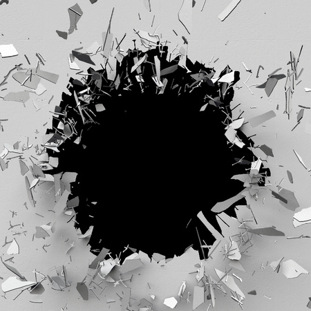 bullet hole: 3d render, 3d illustration, explosion, cracked concrete wall, bullet hole, destruction, abstract background Stock Photo