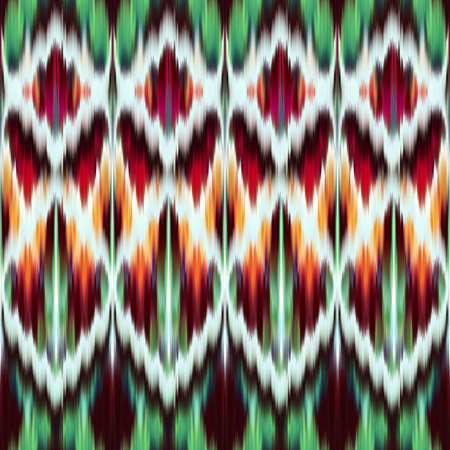 abstract ethnic seamless pattern, ikat ornament, red green modern fabric, geometric aztec background
