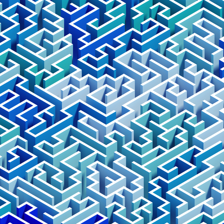 3d render, 3d illustration, abstract geometric background, blue isometric labyrinth