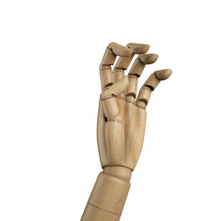 3d render, digital illustration, wooden dummy hand isolated on white background Stock Photo