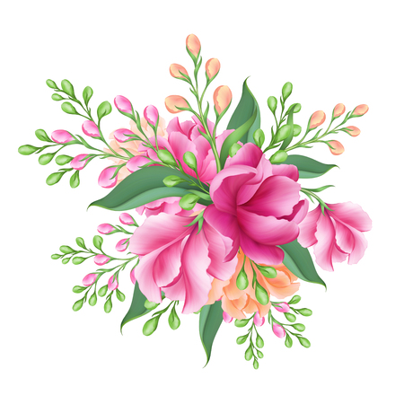 digital illustration, bridal bunch of pink flowers, isolated on white background
