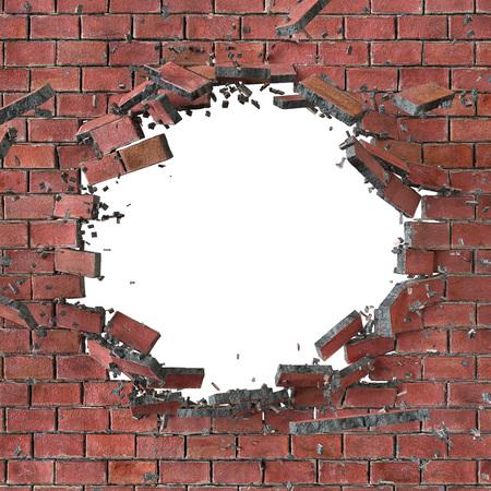 pared rota: 3d, 3d ilustración, explosión, pared de ladrillo rojo agrietados, agujero de bala, destrucción, resumen de antecedentes Foto de archivo