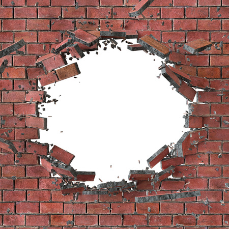 hole in wall: 3d render, 3d illustration, explosion, cracked red brick wall, bullet hole, destruction, abstract background