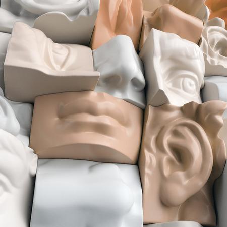 3 d レンダリング、デジタル イラスト、抽象マネキン ブロック、鼻、唇、口、解剖彫刻顔の詳細、デビッド彫刻パーツ 写真素材