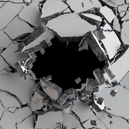 3D 그림, 폭발, 금이 콘크리트 벽, 총알 구멍, 파괴, 추상적 인 배경 3d 렌더링