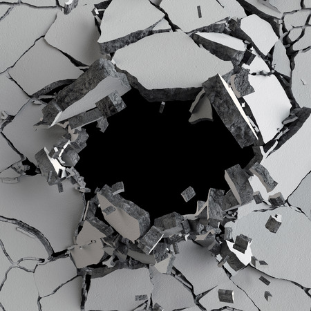 3d render, 3d illustration, explosion, cracked concrete wall, bullet hole, destruction, abstract background Stock Photo