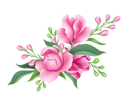 digital illustration, fresh bunch of pink flowers, isolated on white background Archivio Fotografico