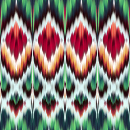 canvas print: abstract ethnic seamless pattern, ikat ornament, red green modern fabric, geometric aztec background