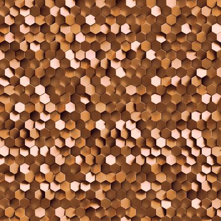wallpaper copper gold golden: 3d render, golden honeycomb wall texture, copper hexagon clusters digital illustration, abstract geometric background
