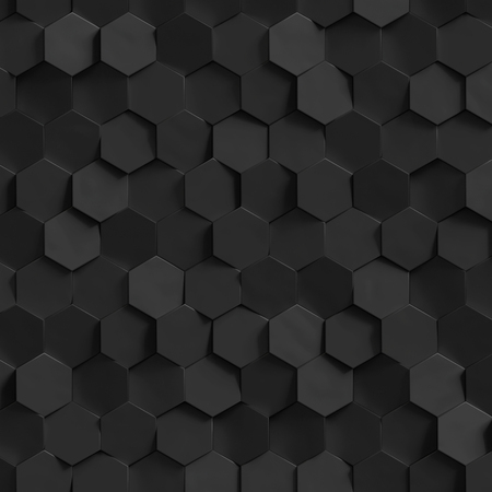 abstract black: 3d render, golden honeycomb wall texture, black hexagon clusters digital illustration, abstract geometric background Stock Photo