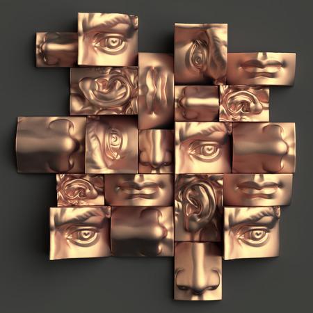 3d 렌더링, 디지털 일러스트 레이 션, 추상 구리 금속 블록, 눈, 귀, 코, 입술, 입, 해부학 조각 얼굴 세부 사항, 데이비드 조각 부분