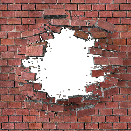 cracked wall: 3d render, illustration, explosion, cracked red brick wall, bullet hole, destruction, abstract background Stock Photo