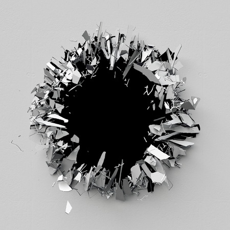 3d bullet: 3d render, 3d illustration, explosion, cracked concrete wall, bullet hole, destruction, abstract background Stock Photo
