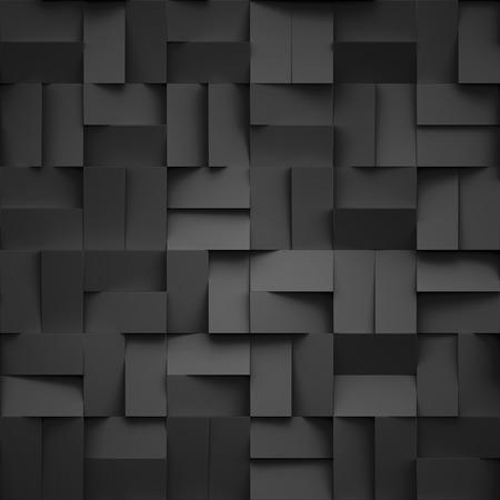 3d render, blocs noirs illustration numérique, abstrait géométrique, texture moderne Banque d'images - 60195219