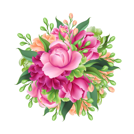 digital illustration, round bridal bunch of flowers, isolated on white background
