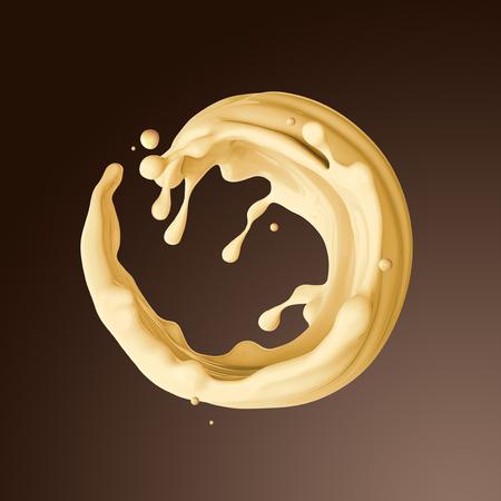 3d dender, food and drink illustration, abstract creamy butter splashing background, vanilla milk round liquid splash, juice jet isolated