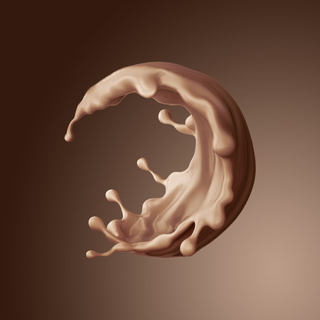 liquid: 3d render, food and drink illustration, abstract splashing background, chocolate round liquid splash, coffee, jet isolated
