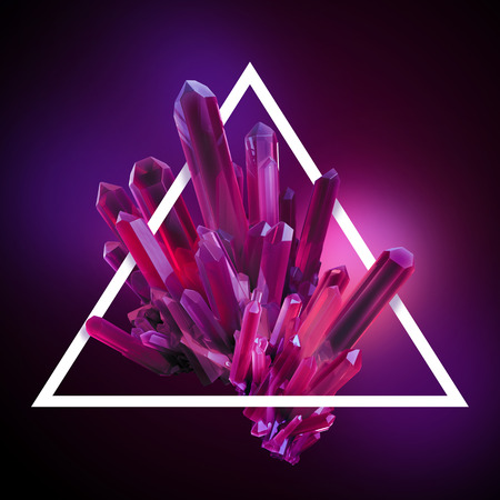 ruby gemstone: 3d render, digital illustration, abstract crystals in triangle frame, modern gemstone background, ruby nugget Stock Photo