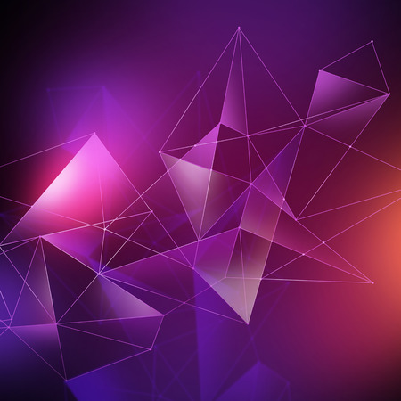 crystallization: abstract geometrical faceted background, glowing triangles, digital illustration