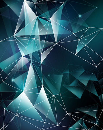 abstract purple geometrical faceted background, glowing neon triangle shapes, digital illustration Stock Photo