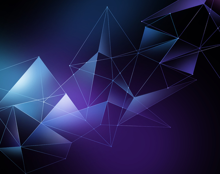 crystallization: abstract blue geometrical faceted background, glowing triangles, digital illustration
