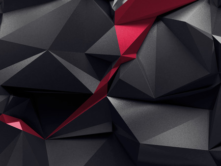 3d render, abstract faceted crystals, black red dramatic background, geometric background Stockfoto