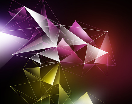 crystallization: abstract colorful geometrical faceted background, glowing triangles, digital illustration Stock Photo