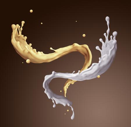 jets: 3d render, digital illustration, banana chocolate milkshake, vanilla milk splashing, isolated mixed drink jets, dynamic liquid splashes background Stock Photo