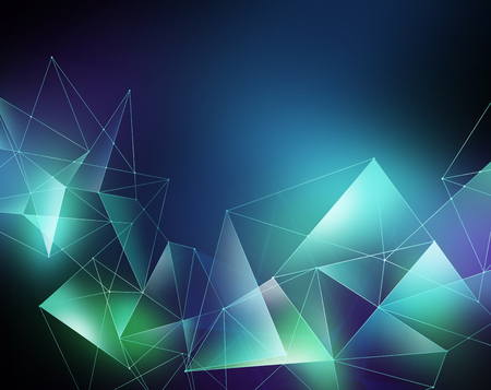 abstract geometrical faceted background, glowing triangles, digital illustration