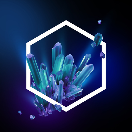 3d render, digital illustration, abstract crystals in hexagonal frame, modern gemstone background, blue sapphire nuggets