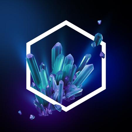 3d render, digitale illustratie, abstract kristallen in zeshoekige frame, moderne edelsteen achtergrond, blauwe saffier nuggets
