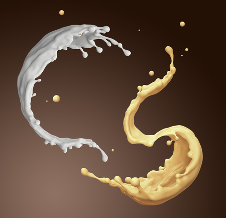 flavour: 3d render, digital illustration, banana chocolate milkshake, vanilla milk splashing, isolated mixed drink jets, dynamic liquid splashes background Stock Photo