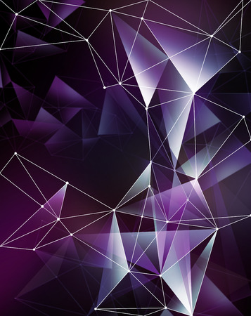 crystallization: abstract purple geometrical faceted background, glowing neon triangle shapes, digital illustration Stock Photo