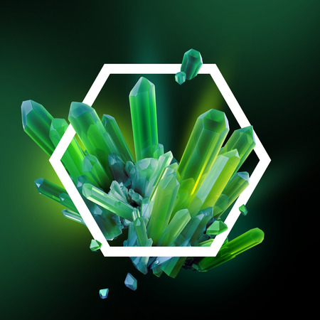 emerald gemstone: 3d render, digital illustration, abstract crystals in hexagonal frame, modern gemstone background, emerald green nuggets