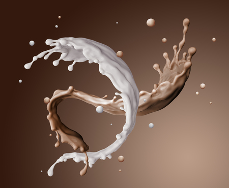 3d dender, food and drink illustration, abstract splashing background, mixed liquid splash, coffe, milk, twisted jets isolated Banco de Imagens