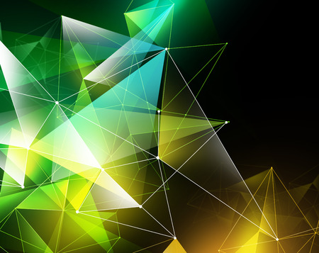 faceted: abstract geometrical yellow green faceted background, glowing triangles, digital illustration Stock Photo