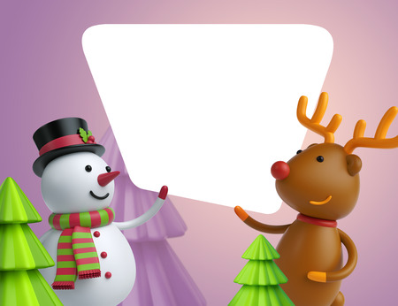 3d render, snowman and deer holding Christmas greeting card, festive template, holiday lilac background Stock Photo