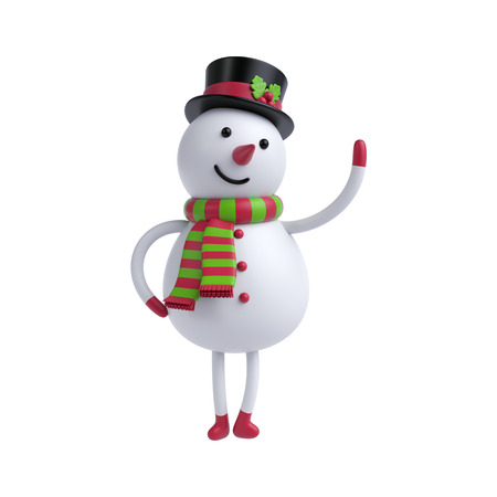 snowman isolated: 3d render, cute cartoon snowman isolated on white background, hands up, Christmas greeting card, holiday toy Stock Photo