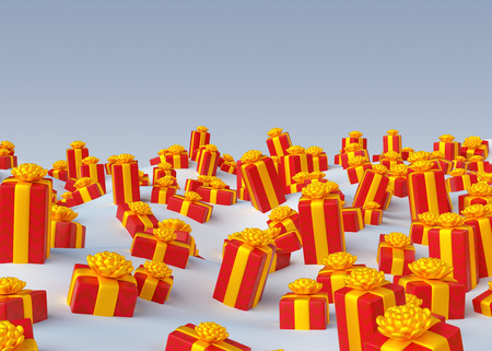 dcor: 3d render, 3d illustration, Christmas greeting card, holiday wrapped gifts background